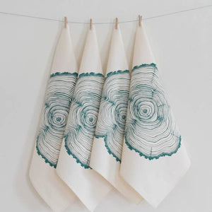 Hand printed organic cotton napkins - set of 4