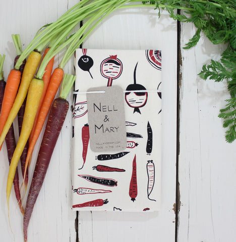 Root Vegetable Organic Cotton Tea Towel