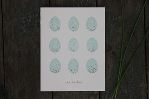 Chickadee 9 Eggs Letterpress Card