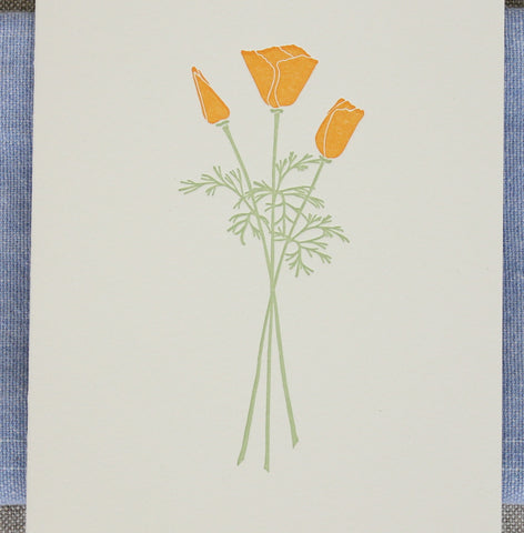 California Poppies Letterpress Card