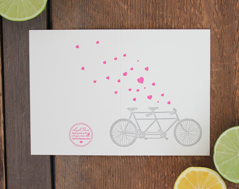 Tandem Bike Letterpress Card