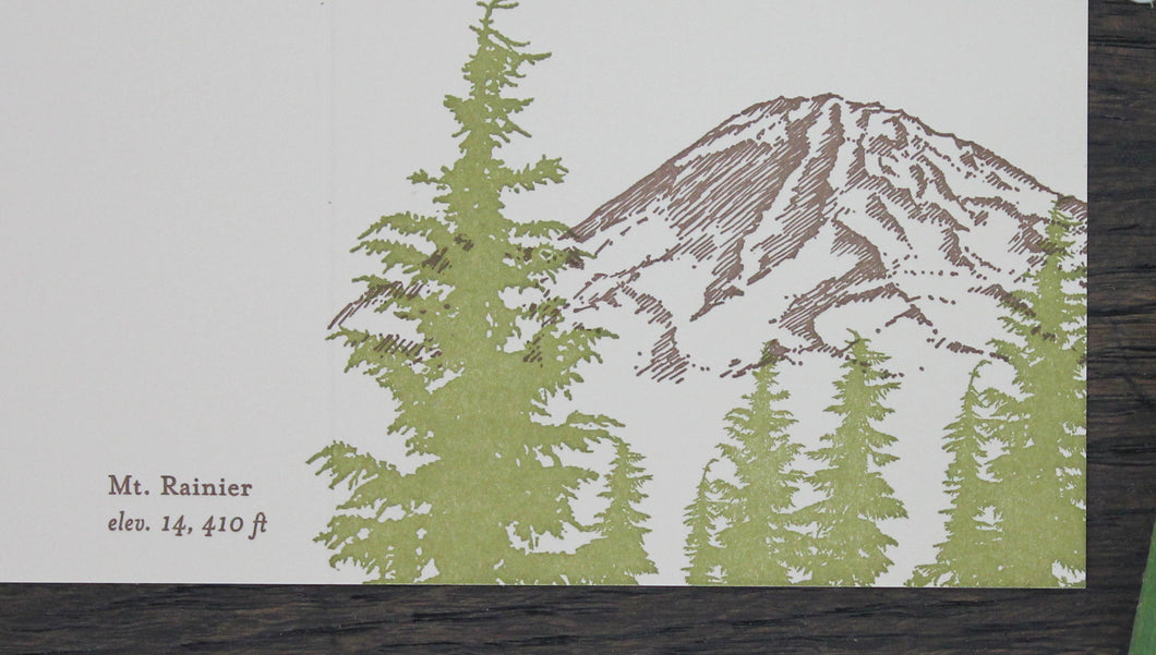 Mt. Rainer Letterpress Card