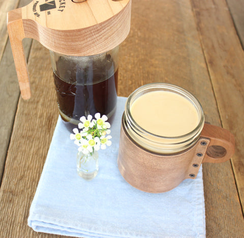 Leather & Walnut Mason Jar Sleeve ~ Natural