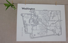 Load image into Gallery viewer, Washington Map Print