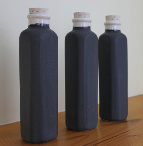 Ceramic Water Bottle ~ Charcoal Grey