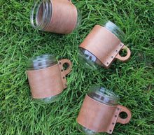 Load image into Gallery viewer, Leather & Walnut Mason Jar Sleeve