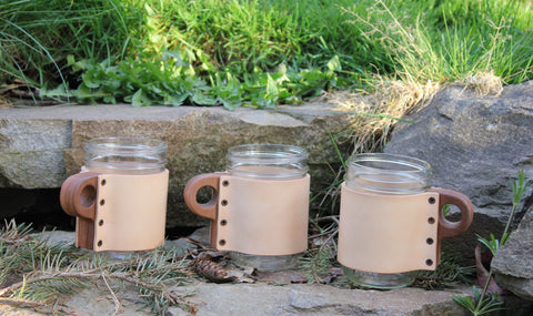 Leather & Walnut Mason Jar Sleeve ~ Desert Sand