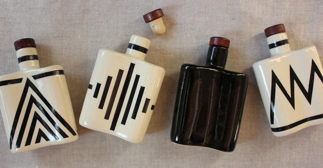 Black Ceramic Flask