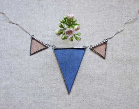 Stained Glass Banner ~ Blue & Peach