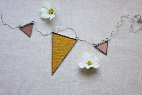 Stained Glass Banner ~ Yellow & Peach
