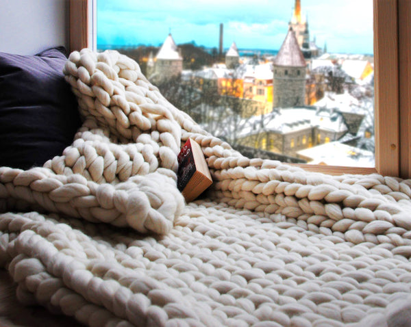 Chunky, bulky, thick merino wool gigantic hand-knitted blanket