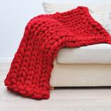 medium chunky merino wool red blanket
