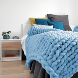 medium chunky merino wool light blue blanket