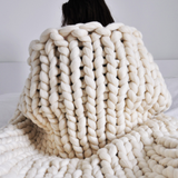 medium chunky merino wool cream blanket
