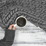 medium chunky merino wool dark grey blanket