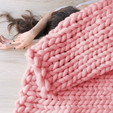 medium chunky merino wool baby pink blanket