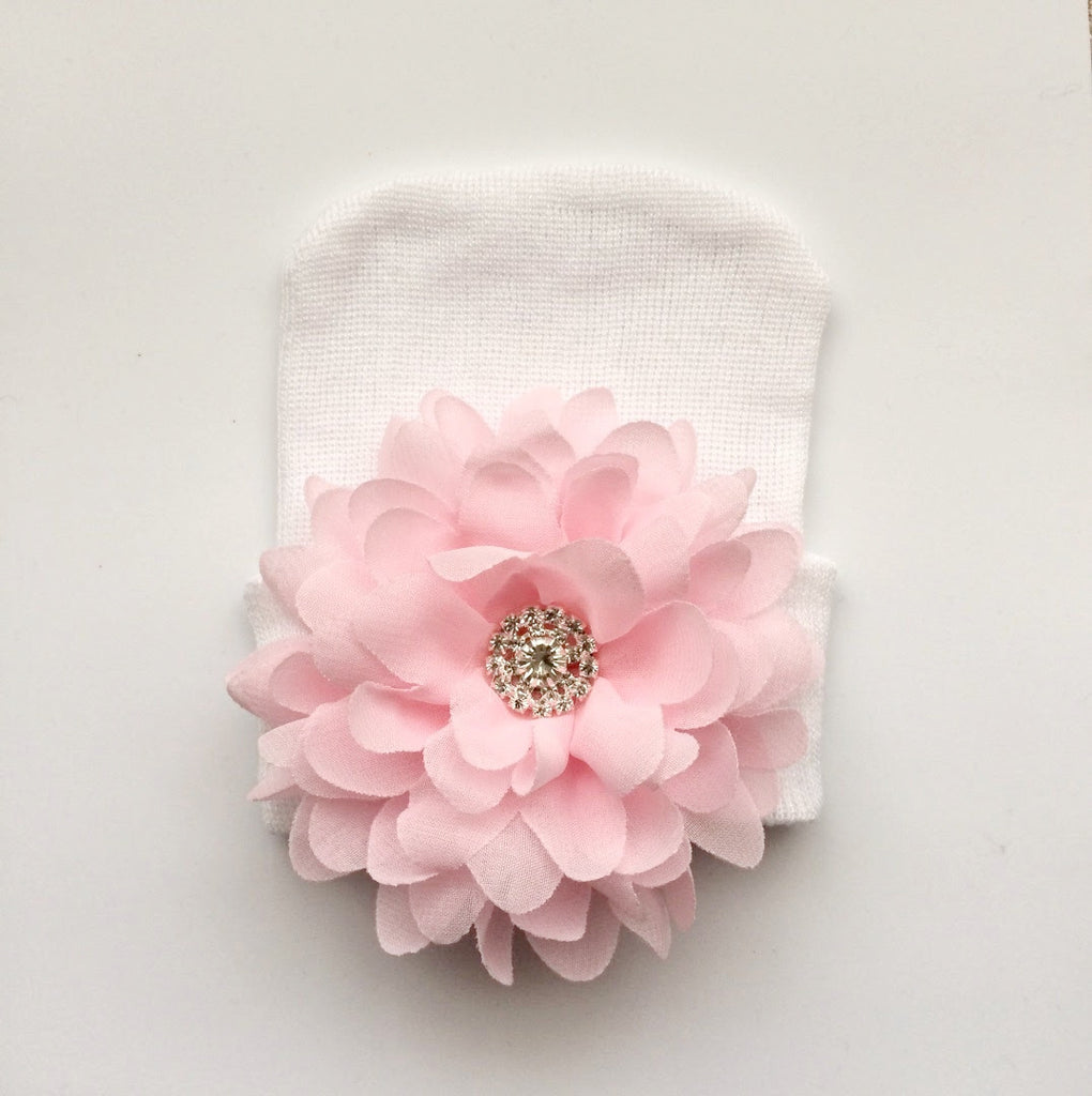 Baby Hospital Hat White Pick Your Color Flower Babygdesigns13