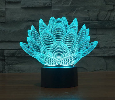 Lotus Flower Color Changable 3D Lamp