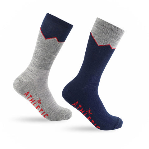 Elevation Wool Sock - Grey & Navy