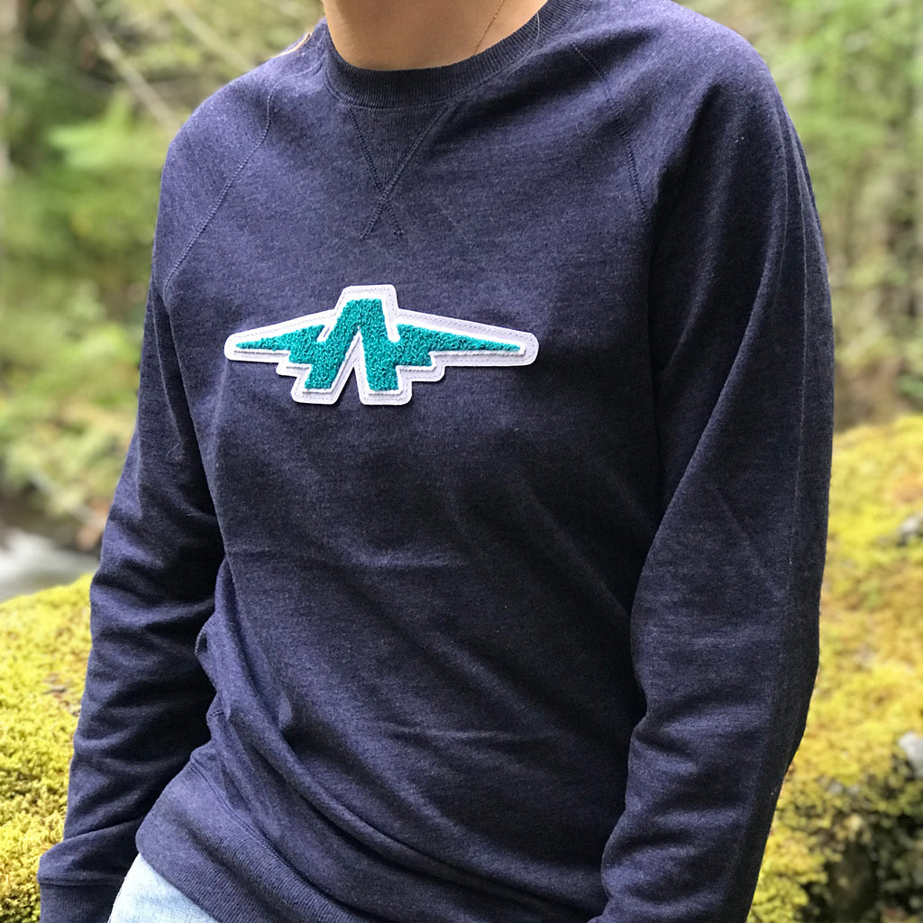 Transmission Green Chenille French Terry Navy Sweatshirt