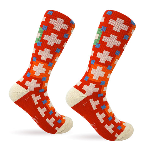 Cabin Comfort Cotton Sock - Campfire Red