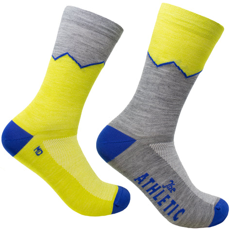 Elevation Thin Wool Sock - Golden Kiwi & Grey
