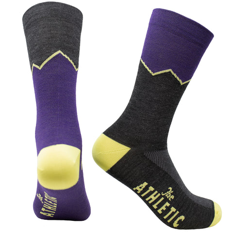 Elevation Thin Wool Socks - Plum & Steel