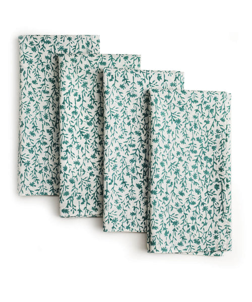 Spring Cotton Hand-Block Printed Napkins - Set of 4