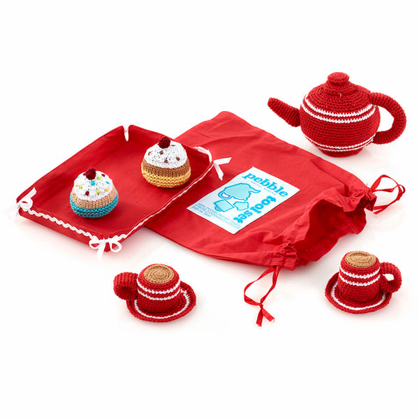 Red Tea Set for two