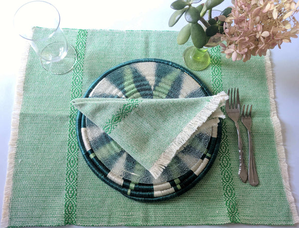 Amala Hand Woven Cotton Placemat - Green