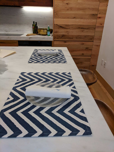 Indigo Hand block printed Cotton Placemat