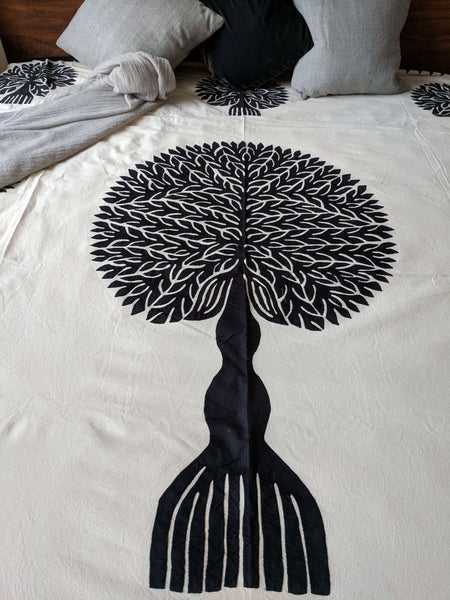 Queen Tree Hand Applique Cotton Blanket - artisans - handmade - Shokunin
