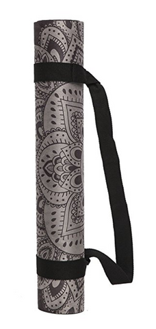 "THE ""Mandala Black"" Studio COMBO MAT: 70 in. x 24 in. x 3.55 mm Yoga Mat. Yoga Health Store's Luxury Studio YOGA MAT - A Mat that Grips the More You Sweat 