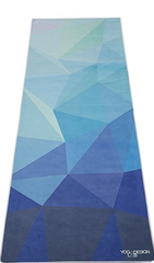 THE ULTIMATE HOT YOGA TOWEL -Color: GEO Blue -by YOGA DESIGN LAB | Luxury Non Slip Quick Dry Eco Printed Towel | Designed in Bali | Ideal for Hot Yoga, Bikram, Exercise, Sports, or Travel | Mat Sized