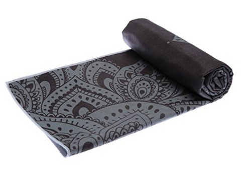 THE ULTIMATE HOT YOGA TOWEL -Color-Mandala-Black-by YOGA DESIGN LAB | Luxury Non Slip Quick Dry Eco Printed Towel | Designed in Bali | Ideal for Hot Yoga, Bikram, Exercise, Sports, or Travel | Mat Sized - Yoga Health Store