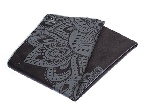 THE ULTIMATE HOT YOGA TOWEL -Color-Mandala-Black-by YOGA DESIGN LAB | Luxury Non Slip Quick Dry Eco Printed Towel | Designed in Bali | Ideal for Hot Yoga, Bikram, Exercise, Sports, or Travel | Mat Sized