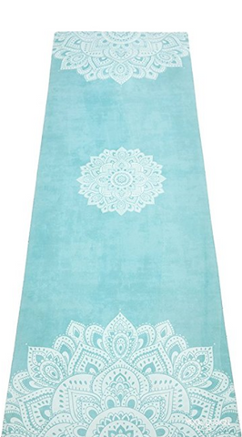 "THE ""Mandala Turquoise"" Studio COMBO MAT: 70 in. x 24 in. x 3.55 mm Yoga Mat. Yoga Health Store's Luxury Studio YOGA MAT - A Mat that Grips the More You Sweat 