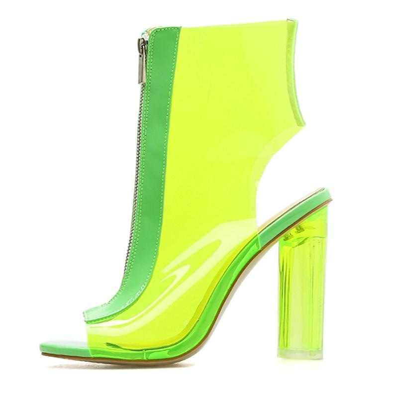 CANT FAKE IT PEEP TOE BOOT - NEON