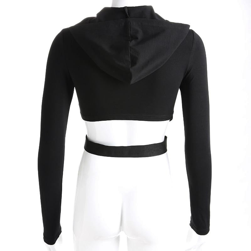 CROSS STRAP CROP TOP HOODIE