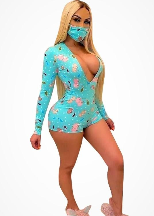 DREAM ABOUT ME PJ LONG SLEEVE ROMPER WITH MASK