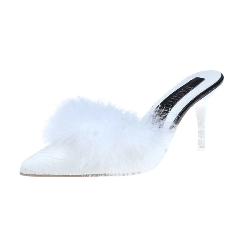 DUCHESS FEATHER HEELS - WHITE