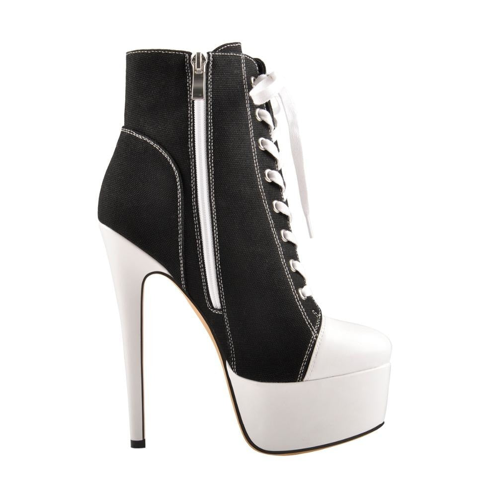 I FOUND LOVE STILETTO ANKLE BOOTS - BLACK