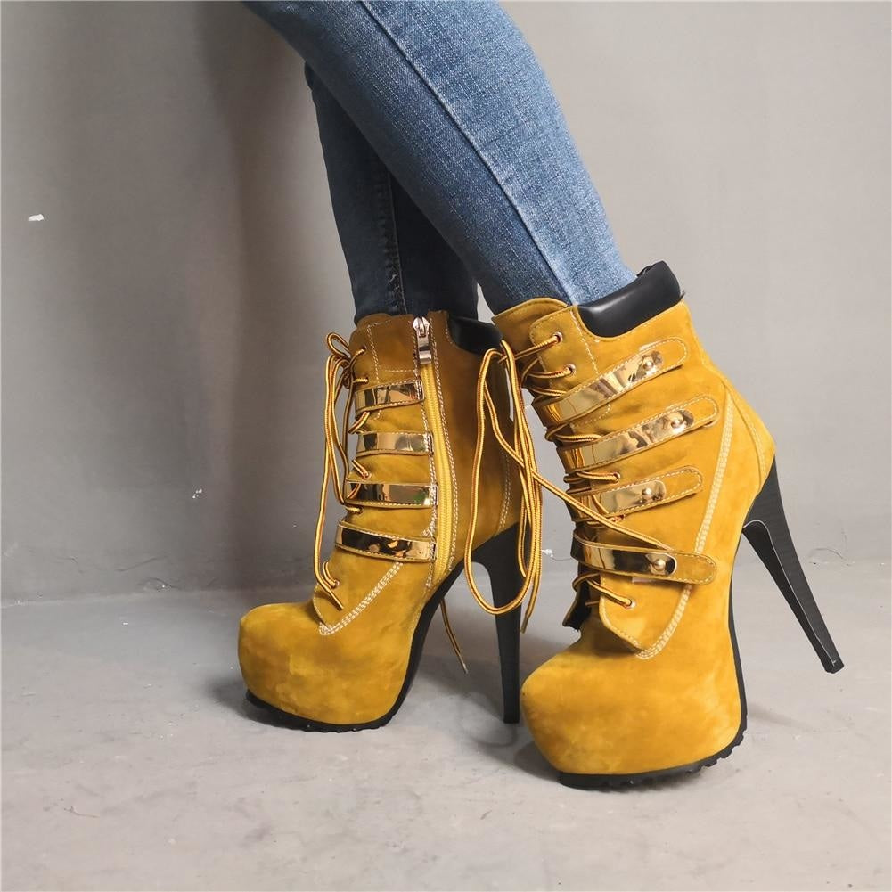 I WORK HARD FOR MINE HIGH HEEL ANKLE BOOTS