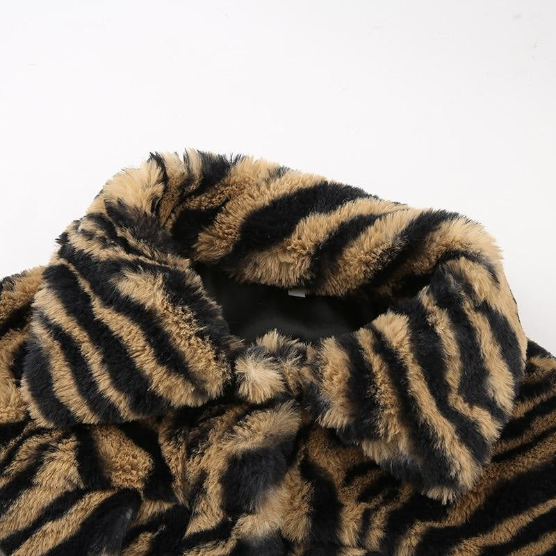IM DANGEROUS TIGER PRINT FAUX FUR COAT