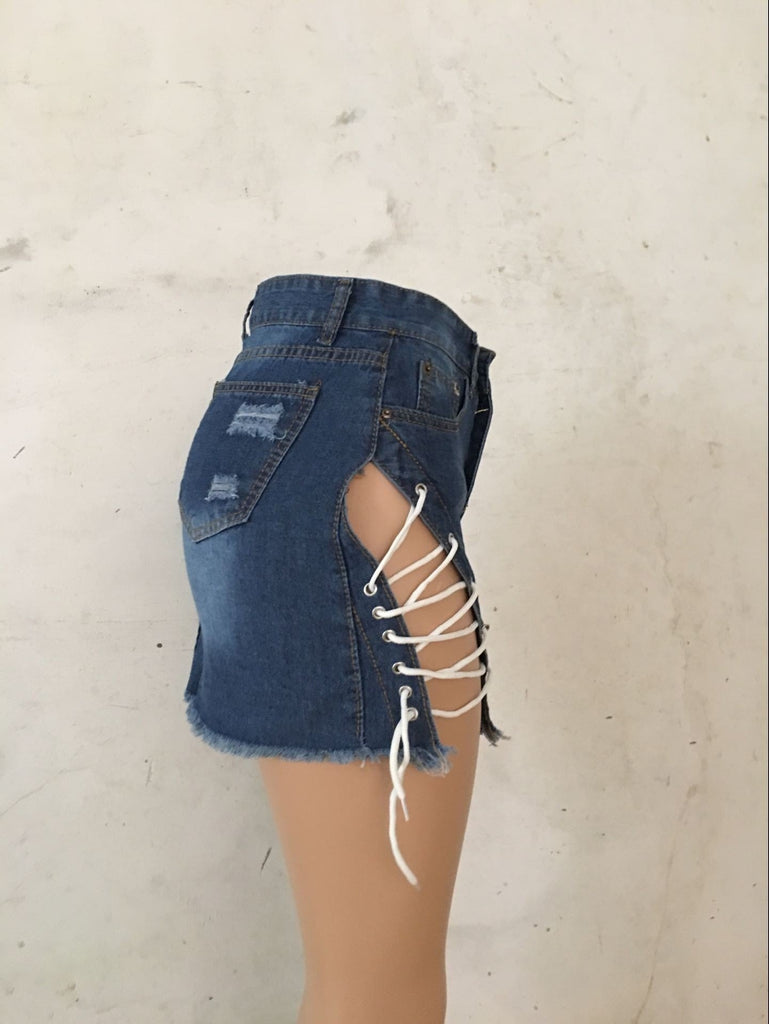KEEP IT TIGHT LACE UP DENIM MINI SKIRT