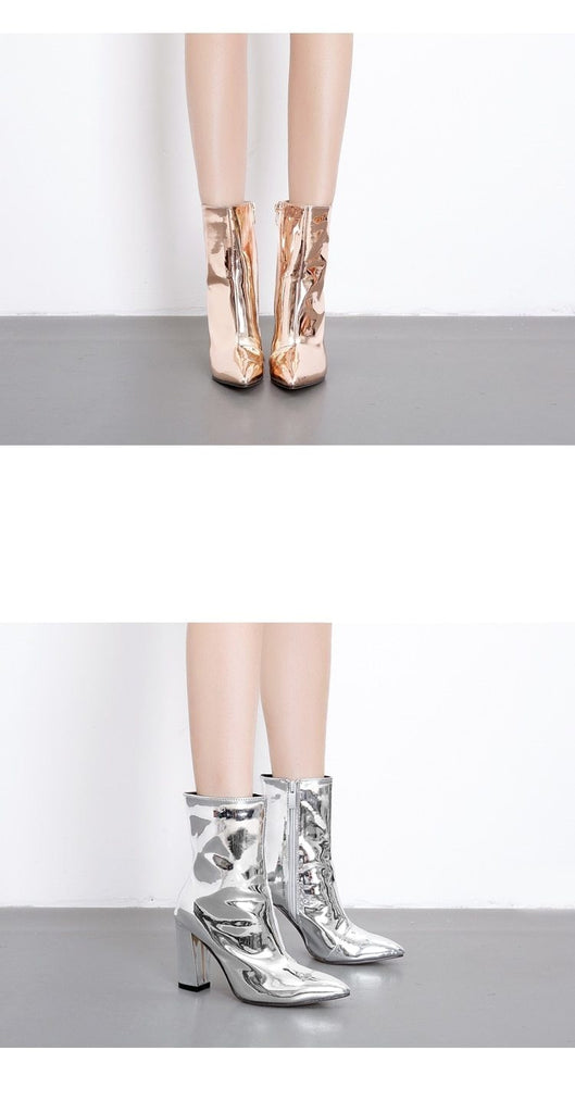 LOOK AT ME KNOW ANKLE BOOTS - GOLD