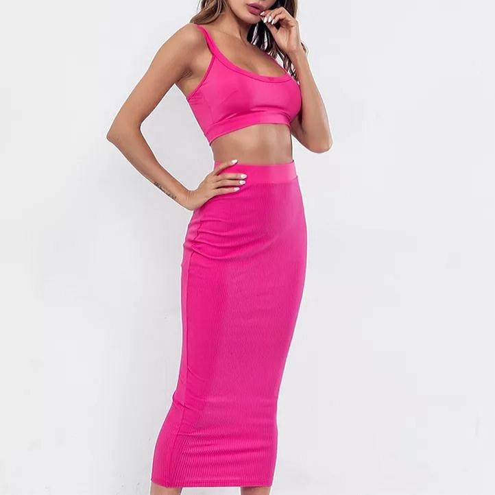 PRETTY IN PINK 2 PIECE CROP TOP SET