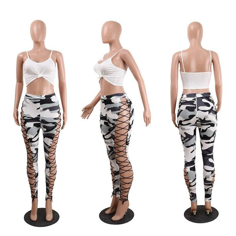 SEXY LACE UP CUT OUT CAMOUFLAGE PANTS