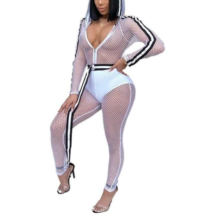 SEXY MESH JUMPSUIT WITH HOOD