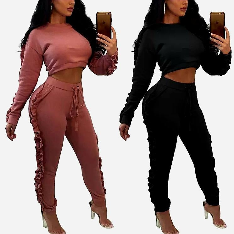 SEXY TWO PIECE RUFFLE CROP TOP ACTIVE WEAR SET